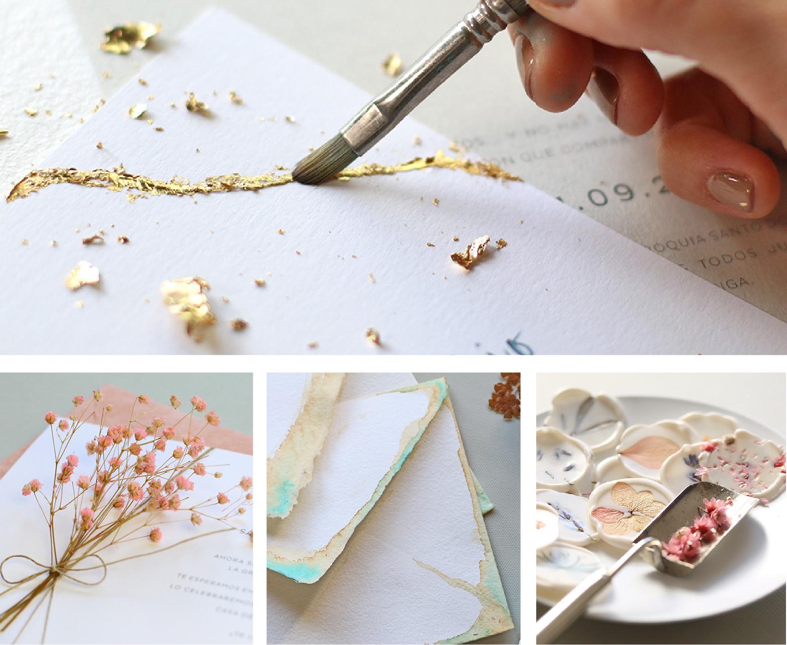 Invitaciones de boda hechas a mano - pan de oro