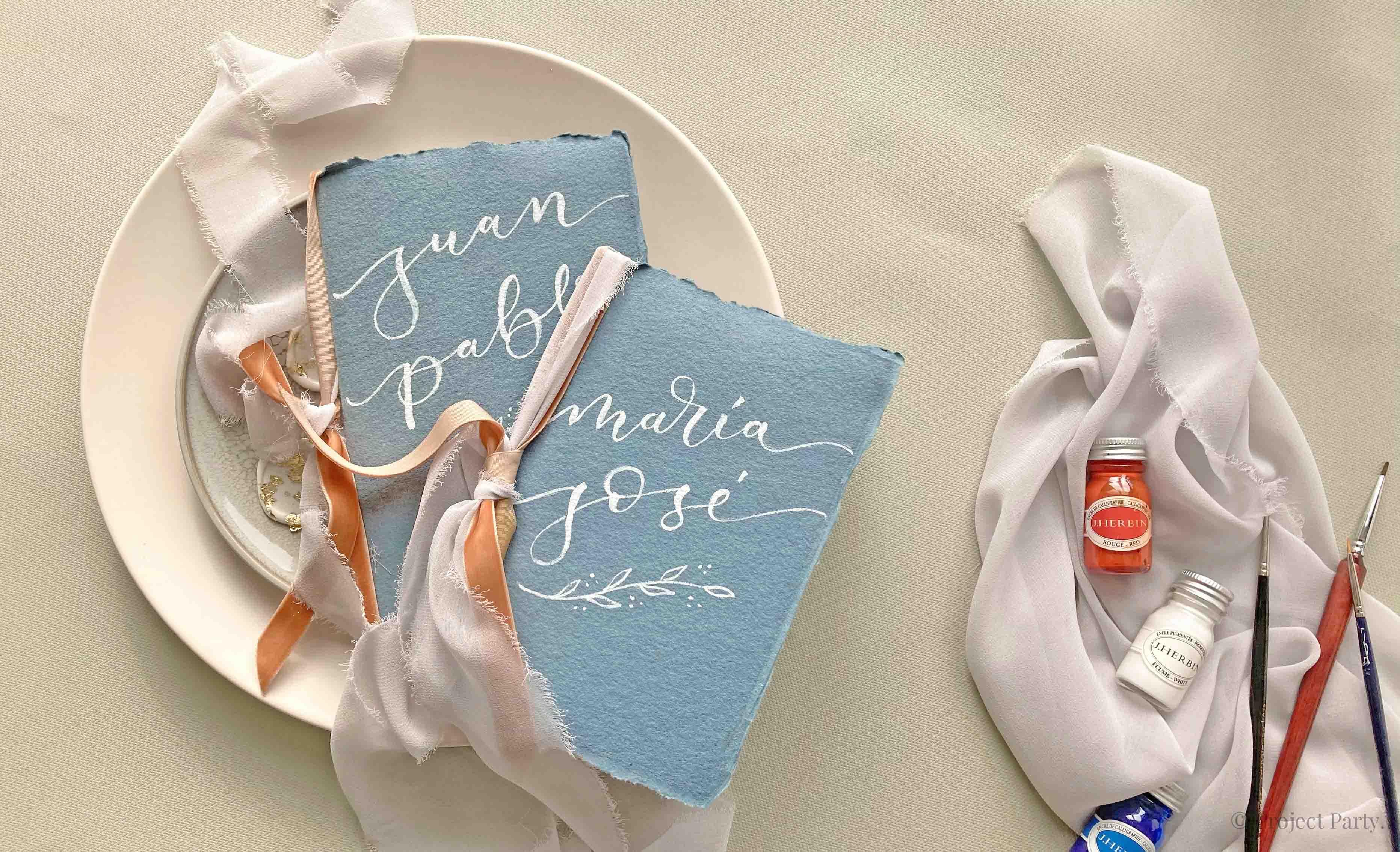 Invitaciones de boda hechas a mano - plantilla de lettering