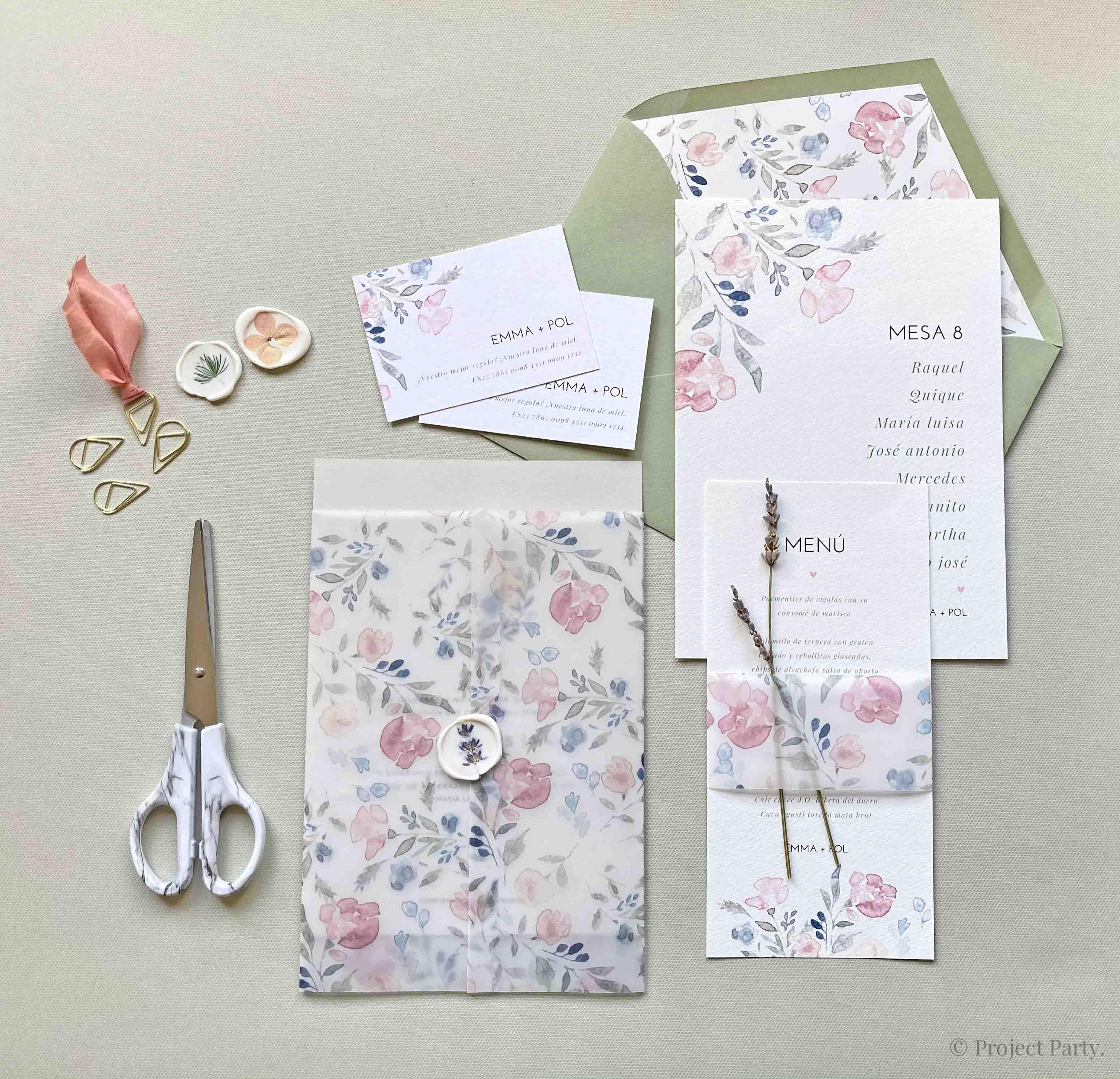 Invitaciones de boda hechas a mano - transparencias