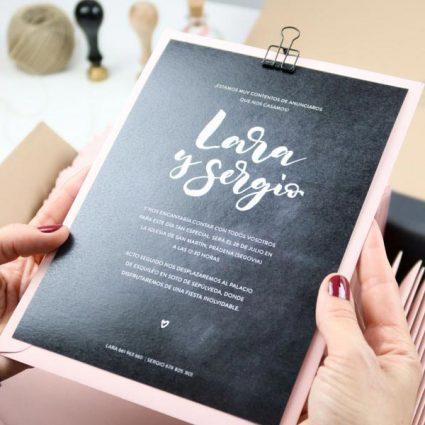 project party invitacion boda lettering pizarra