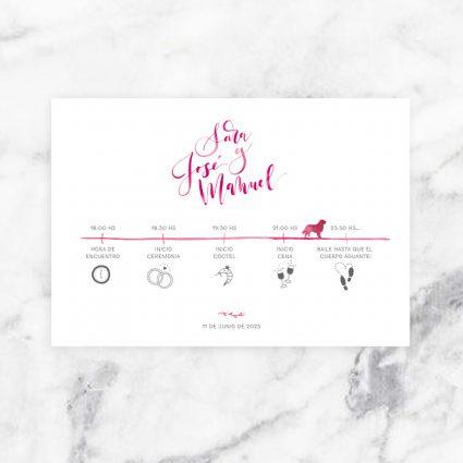 tarjetón informativo a juego con invitación de boda