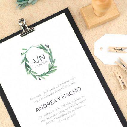 Invitaciones de boda rusticas acuarela de olivos