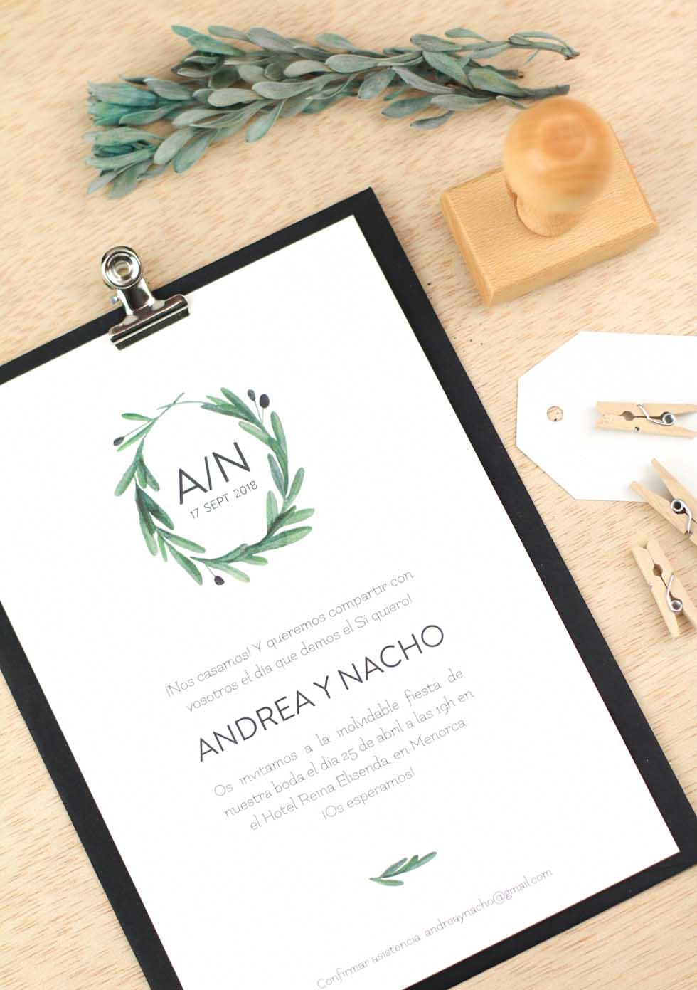 3a7d054200d4b Invitaciones de boda rusticas acuarela de olivos