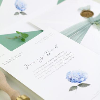 invitación de boda hortensia