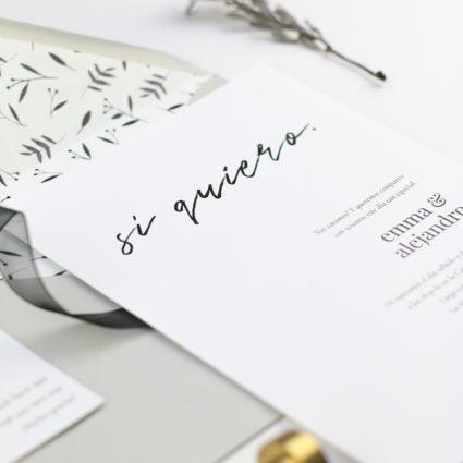 Invitación de boda minimalista lettering