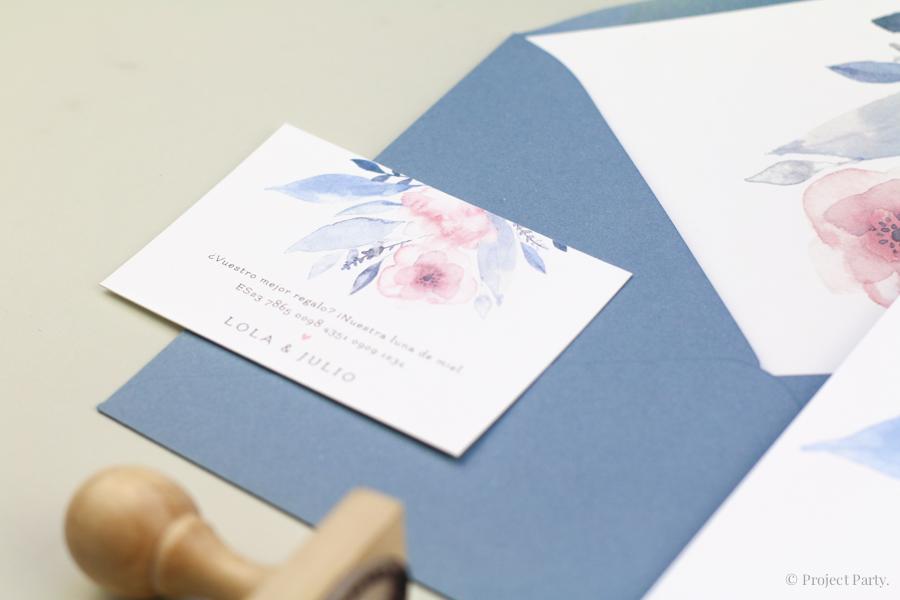 Invitaciones de boda flores acuarelas