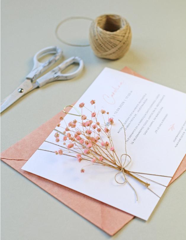 Flores naturales - invitaciones de boda hechas a mano